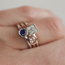 Load image into Gallery viewer, Square Pavé Diamond Fusion Ring in 14K White Gold