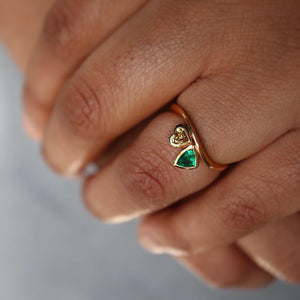 Original Emerald & Champagne Diamond Ring