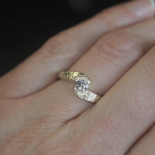 Load image into Gallery viewer, Textured Swirl Diamond Ring in Yellow Gold