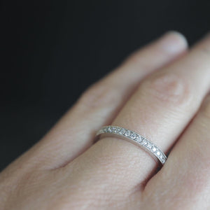 Narrow Platinum Eternity Pavé Ring