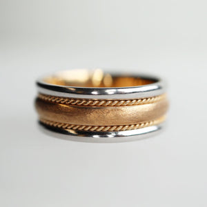 4 Piece Platinum & Textured Gold Band - Clearance