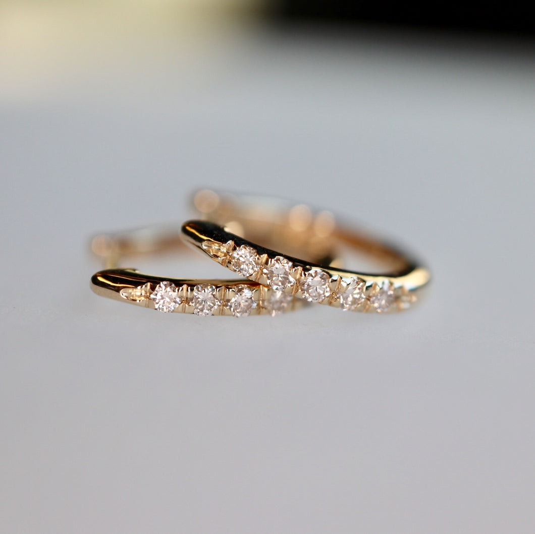 Dainty Diamond Hoop Earrings - Yellow Gold