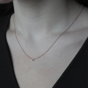 Dainty Diamond Solitaire Necklace - Rose Gold