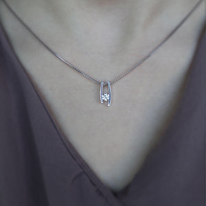 Modern Diamond Solitaire Necklace