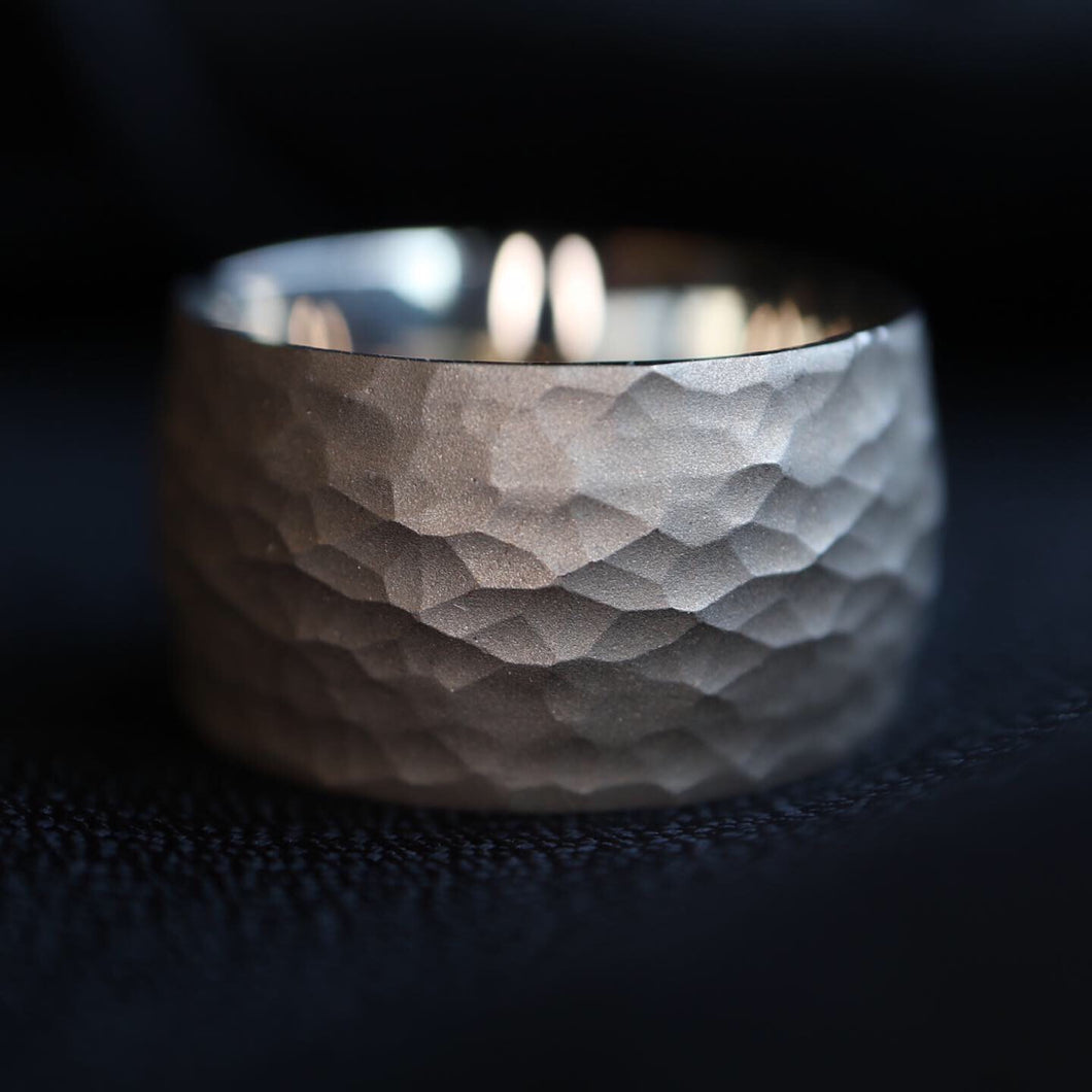 Wide Hammered White Gold Band - Clearance