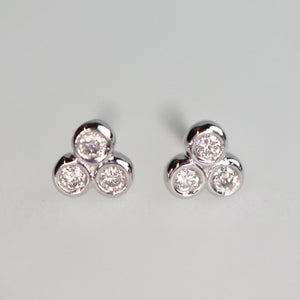 Triple Bezel Cluster Stud Earrings