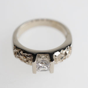 Chiseled Texture Princess Cut Ring
