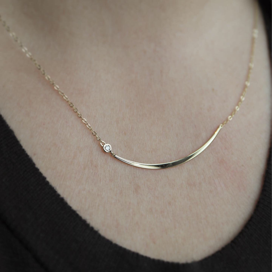 Crescent Necklace with Offset Diamond