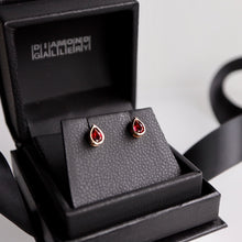 Load image into Gallery viewer, Pear Shaped Garnet Bezel Earrings