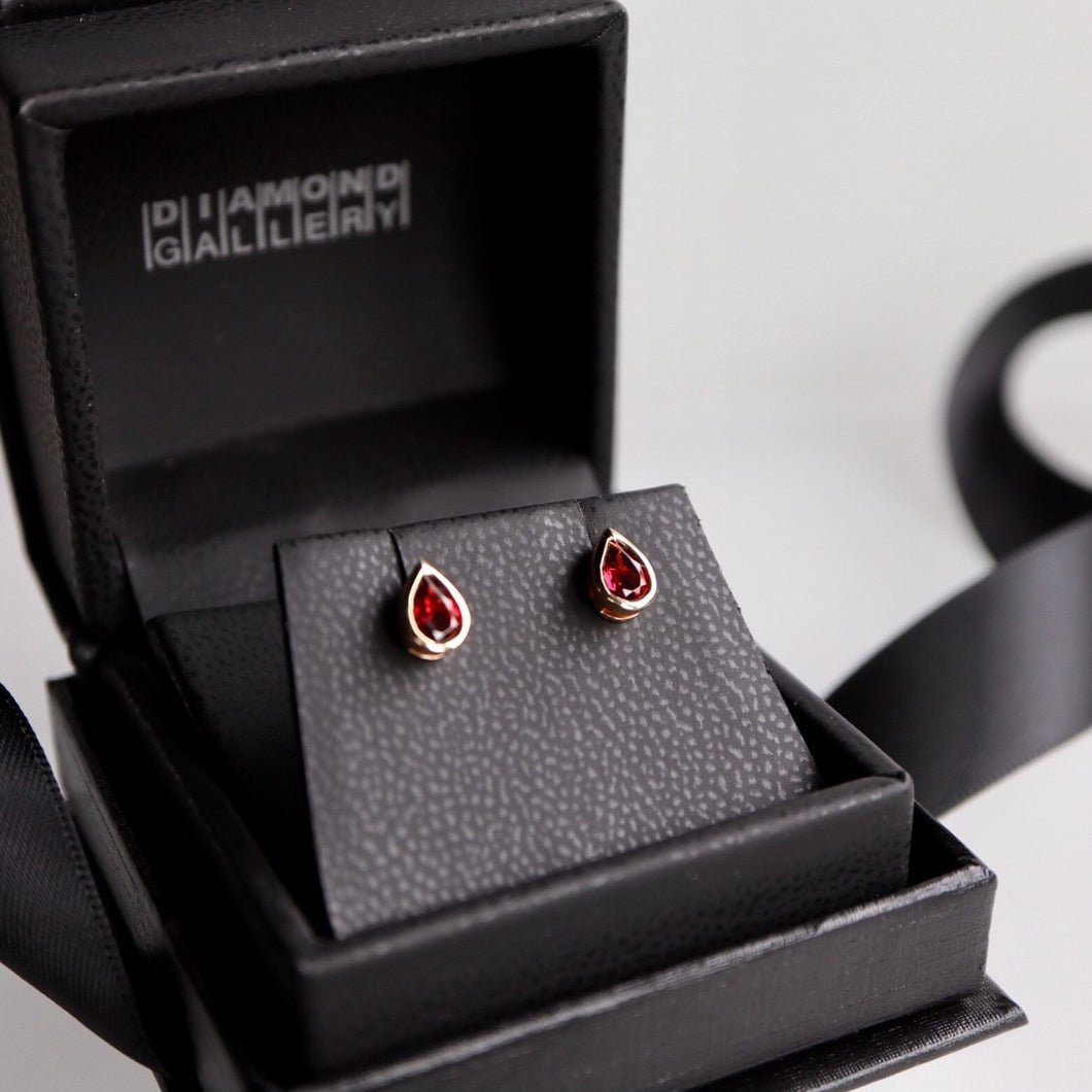 Pear Shaped Garnet Bezel Earrings