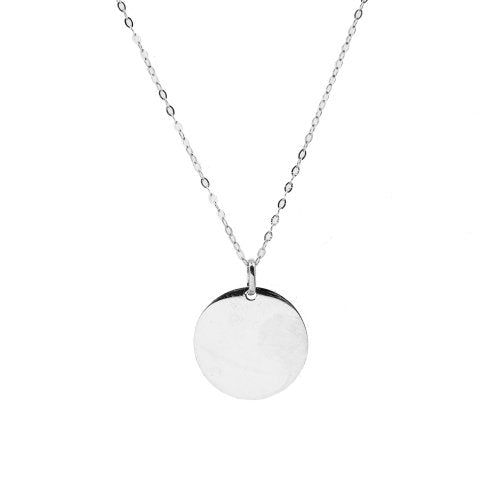 10K White Gold Disc Necklace