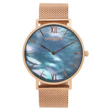 """Ocean Eye"" - Rose Gold Mesh Watch"