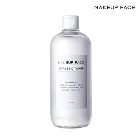 Nakeup Face Stress Zero Toner 16.9 Oz, EWG Green Rating, Ethanol Free, pH 5.0 Low Acidity, 90% Sea Water, Moisturizer, 500ml