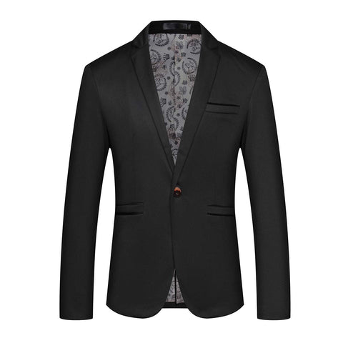Mens Slim Fit Sport Coat Casual One Button Solid Color Jacket Blazer (Large, Black)