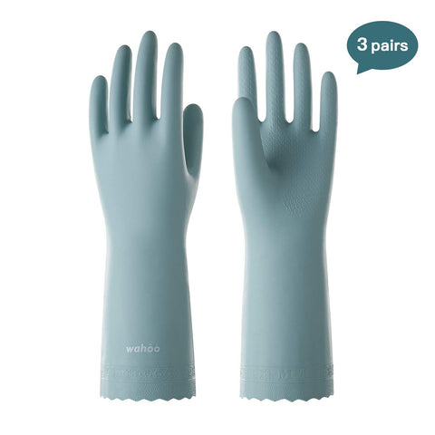 3 Pack Reusable Household Gloves Waterproof PVC Dishwashing Gloves, Non-slip Ultra-thin Cleaning Gloves for Kitchen, Unlined, Intertek Listed, LANON Protection