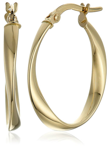 14k Yellow Gold Twisted Oval Hoop Earrings