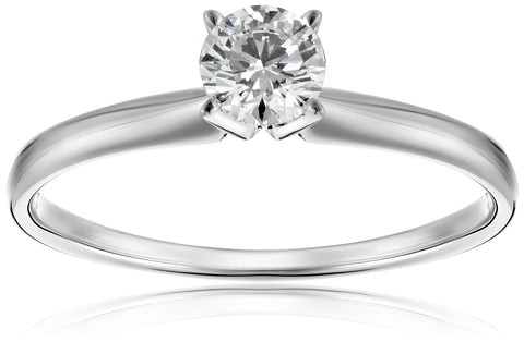 IGI Certified 18k White Gold Classic Round-Cut Diamond Engagement Ring (1/2 carat, H-I Color, SI1-SI2 Clarity), Size 8