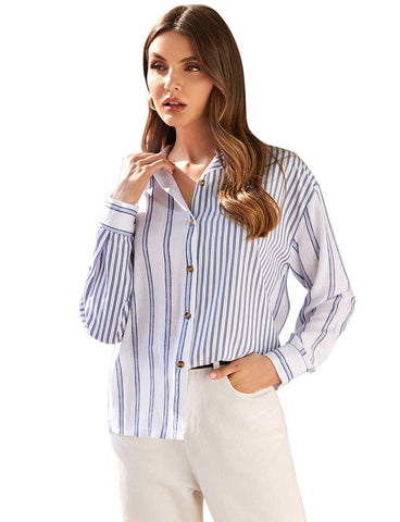 ROMWE Women's Striped Button Down High Low Hem Loose Shirt Casual Long Sleeve Notched Neck Solid Blouse Top Blue X-Large