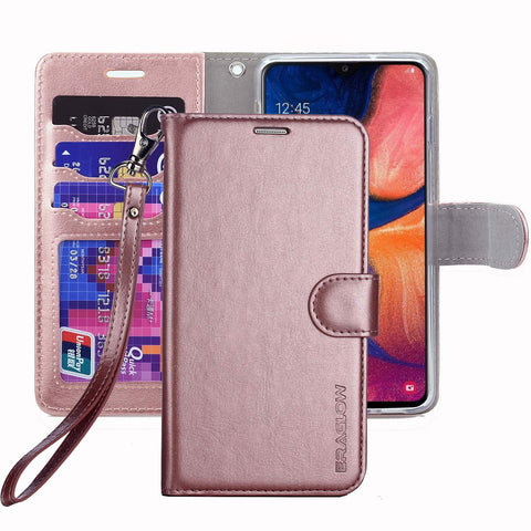 ERAGLOW Galaxy A20 Case,Galaxy A30 Case,Premium PU Leather Wallet Flip Protective Phone Case Cover w/Card Slots & Kickstand for Samsung Galaxy A20/A30 2019 (Rose Gold)