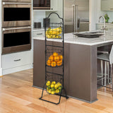 Sorbus 3-Tier Wire Market Basket Stand for Fruit, Vegetables, Toiletries, Household Items, and More, Stylish Tiered Serving Stand Baskets for Kitchen, Bathroom Storage Organization (Black)