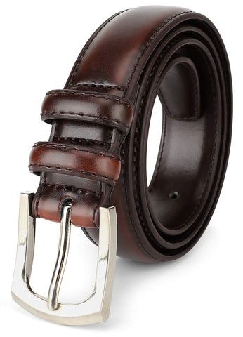 Men's Genuine Leather Dress Belt Classic Stitched Design 30mm 'ALL LEATHER' Mahogany Size (48)