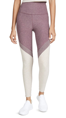 Beyond Yoga Women's Spacedye Day One High Waisted Long Leggings, Deep Blush/Wild Orchid, Pink, Purple, Stripe, XX-Small