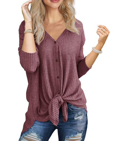 IWOLLENCE Womens Loose Henley Blouse Bat Wing Long Sleeve Button Down T Shirts Tie Front Knot Tops Rust Red M