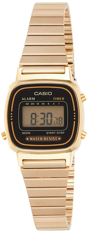 Casio Women's Vintage LA670WGA-1DF Daily Alarm Digital Gold-tone Watch
