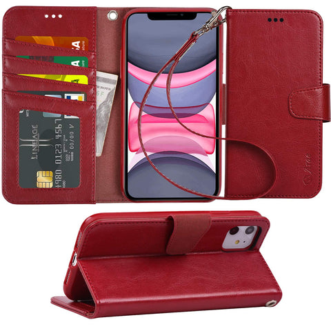Arae Case for iPhone 11 PU Leather Wallet Case Cover [Stand Feature] with Wrist Strap and [4-Slots] ID&Credit Cards Pocket for iPhone 11 6.1 inch 2019 Released (Wine Red)