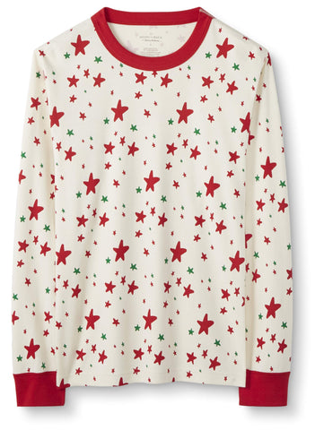 Moon and Back by Hanna Andersson Women's/Men's 100% Organic Cotton Family Matching Holiday Long Sleeve Pajama Top, Red/Green Star, Extra Small