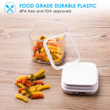 ME.FAN Air-Tight Food Storage Container Set - [7-Piece Set] - Durable Seal Pot- Cereal Storage Containers - For Dry Foods & Liquids - Kitchen Space Saving - BPA Free - Clear Containers with White Lids