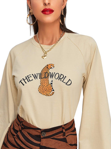 ROMWE Women's Casual Long Sleeve Slogan Lepoard Animal Graphic Print Tee Top Beige, Pastel X-Small