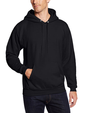 Hanes Men's Pullover EcoSmart Fleece Hooded Sweatshirt, Black, Medium