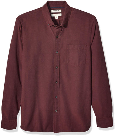 "Amazon Brand - Goodthreads Men's ""The Perfect Oxford Shirt"" Slim-Fit Long-Sleeve Solid, Burgundy Small"