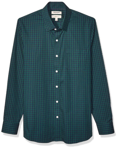 Amazon Brand - Goodthreads Men's Slim-Fit Long-Sleeve Stretch Poplin (All Hours), Green Navy Gingham XXX-Large