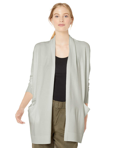 Amazon Brand - Daily Ritual Women's Fine Gauge Stretch Cardigan Sweater, Cloud Grey, X-Small