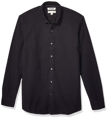 Amazon Brand - Goodthreads Men's Long Sleeve Oxford Shirt, Black Large Tall