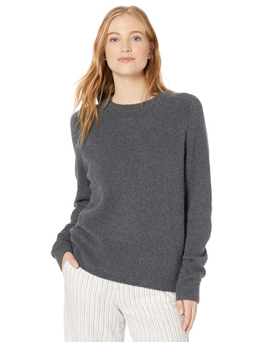 Amazon Brand - Daily Ritual Women's Cozy Boucle Crewneck Pullover Sweater, Charcoal Heather,Small