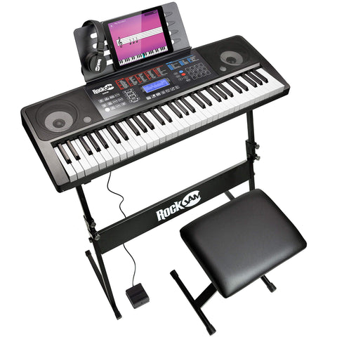 RockJam RJ761 61 Key Electronic Interactive Teaching Piano Keyboard with Stand, Stool, Sustain Pedal and Headphones (RJ761-SK)