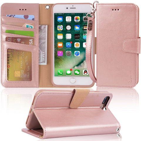 "Arae Case For iPhone 7 plus / iPhone 8 plus, Premium PU leather wallet Case with Kickstand and Flip Cover for iPhone 7 Plus (2016) / iPhone 8 Plus (2017) 5.5"" (not for iphone 7/8) - Rose Gold"