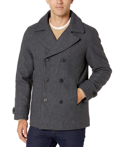 Amazon Essentials Men's Wool Blend Heavyweight Peacoat, Charcoal, Small