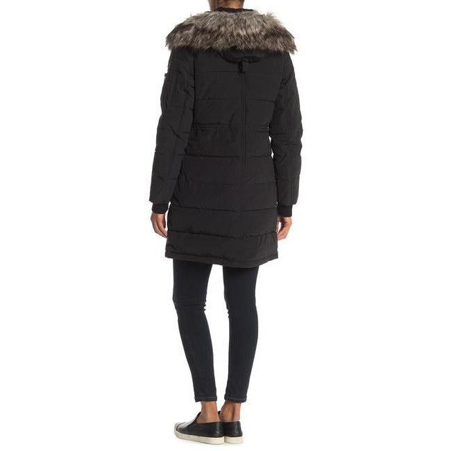 BCBGMAXAZRIA Faux Fur Trim Hooded Quilted Coat