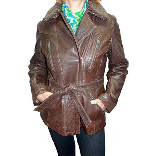 Tibor Design Women's Fur Collar Leather Jacket