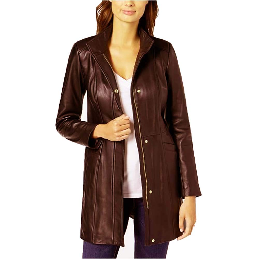 Cole Haan Women's Mid-Length Leather Coat