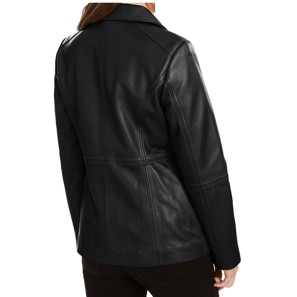 Anne Klein Zip-Front Leather Jacket