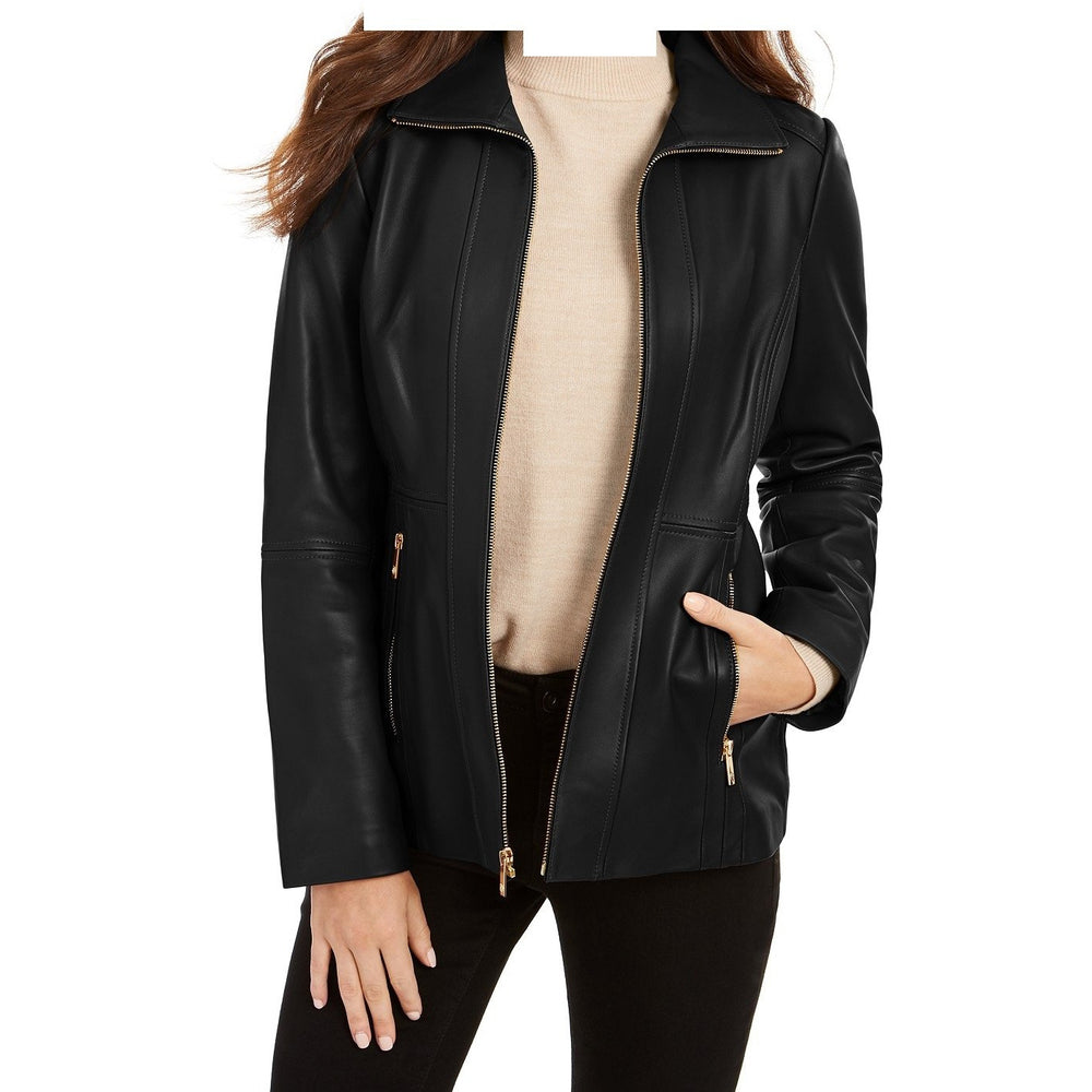 Anne Klein Zip-Front Scuba Leather Jacket