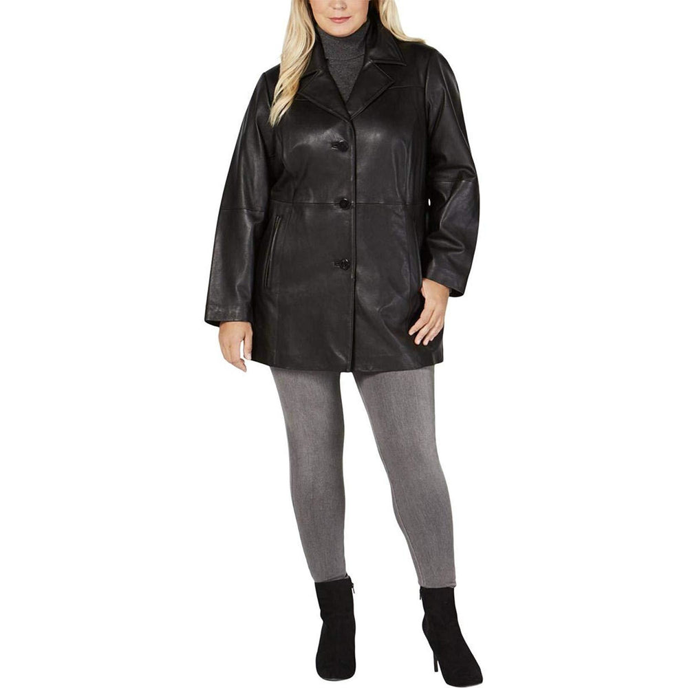 Anne Klein Plus Size Stand Collar Leather Walker Jacket