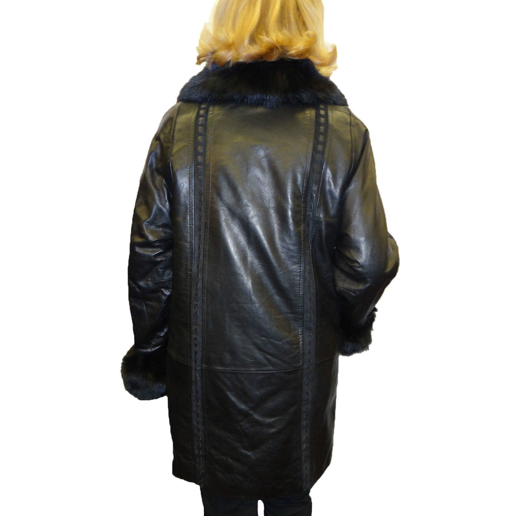 Knoles & Carter Leather Coat with Fox Fur Collar