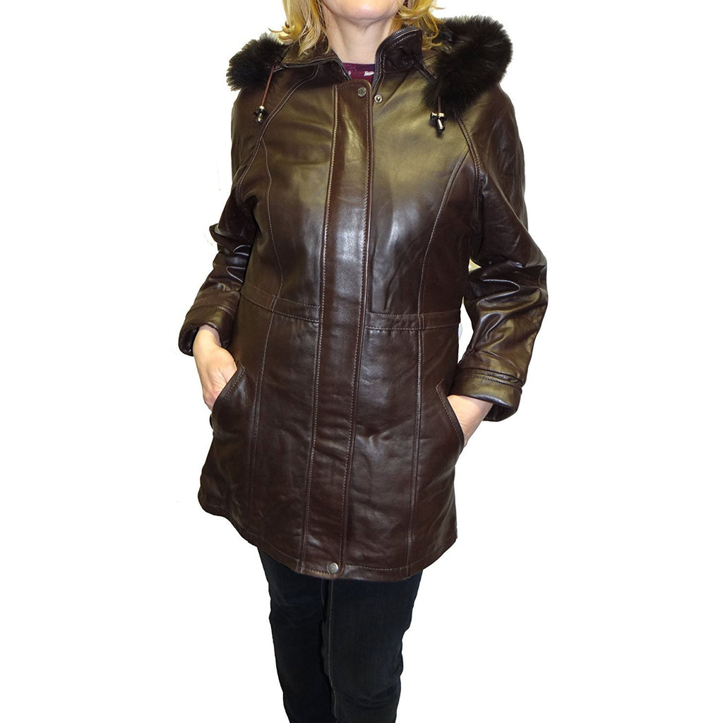 Knoles&Carter Women's Fox Fur Hooded Leather Jacket