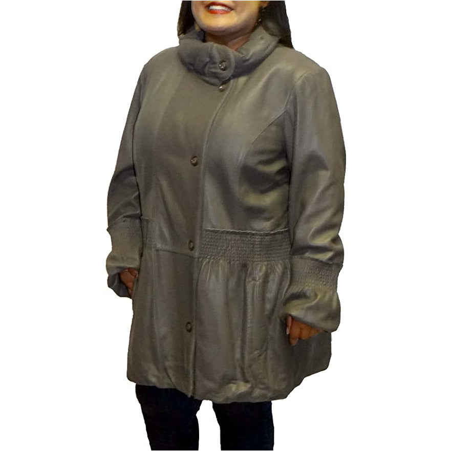 Michaela Women's Plus Size 3/4 Length Leather Coat
